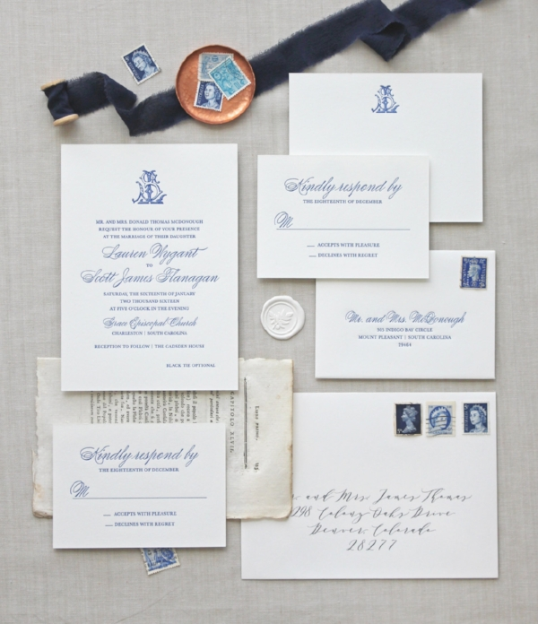 Letterpress Wedding Invitation Suite  by Chatham and Caron