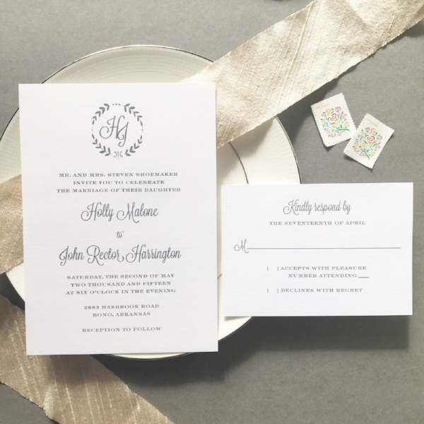 Thermography Invitation Suite - Blush Paperie