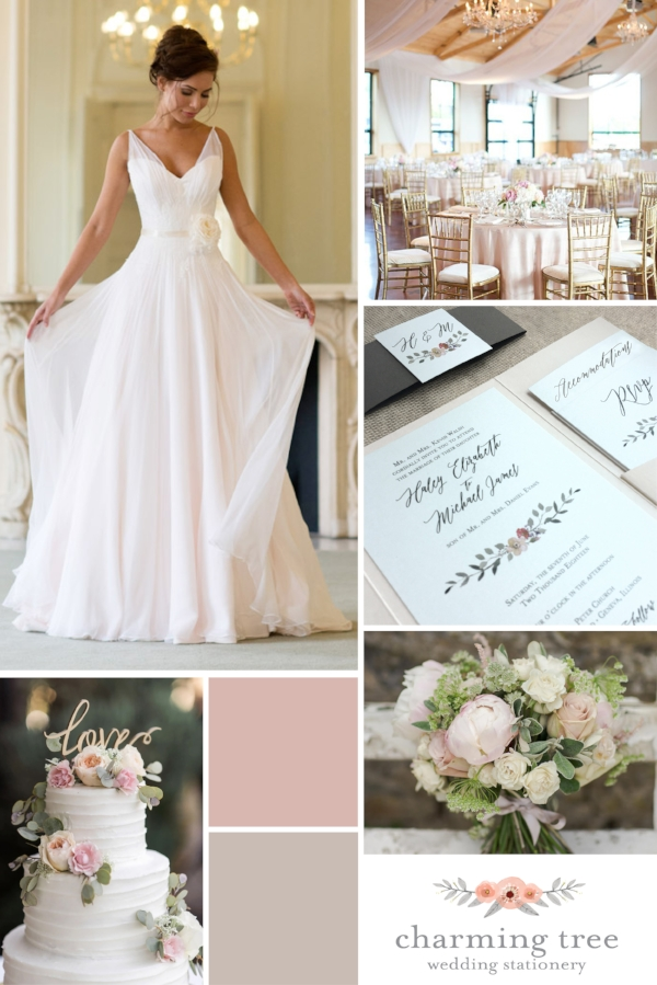 Inspiration for your romantic wedding!  Blush + Ivory + Taupe