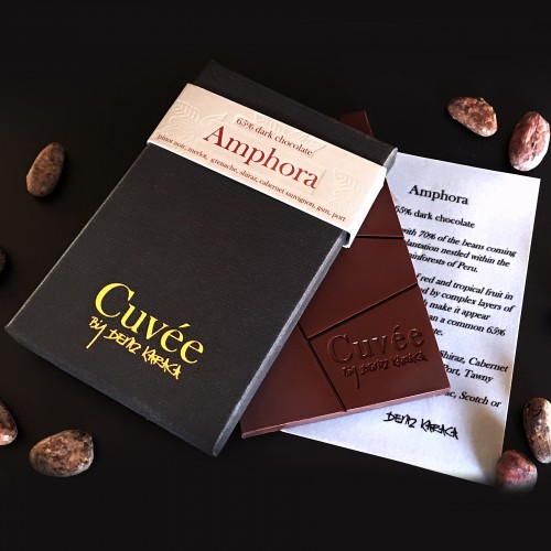 Amphora - 65% Dark Chocolate $12.00   A bold blend with 70% of the beans coming from a single plantation nestled within the ancient rainforests of Peru. Strong impressions of red and tropical fruit in the front palate, followed by complex layers of natural acidity which make it appear considerably less sweet than a common 65% dark chocolate.  Great matches include; Pinot Noir, Merlot, Grenache, Shiraz, Cabernet Sauvignon, Zinfandel, GSM, Port, Tawny