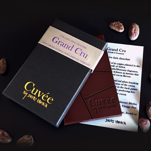 Grand Cru - 75% Dark Chocolate (Criollo & Forastero) $12.00   A chocolate proud of its origins planted in the wild earth of Africa. It starts of by showing an intricate fruity/blossomy fragrance indicating the richness in tannins that gives it its defined cocoa flavour.  There is lots of cherry and red plum breaking through the slight bitterness of the cocoa, finished by a hint of acidity in the back palate which tends to linger around for a bit.   Perfect for the chocoholic preferring less sweetness and more cocoa.   Great matches include; Shiraz, Cabernet Sauvignon, Cabernet Merlot, Merlot, Mourvedre, Sangiovese, Vintage Port. Also try this chocolate with your choice of premium Cognac or Scotch