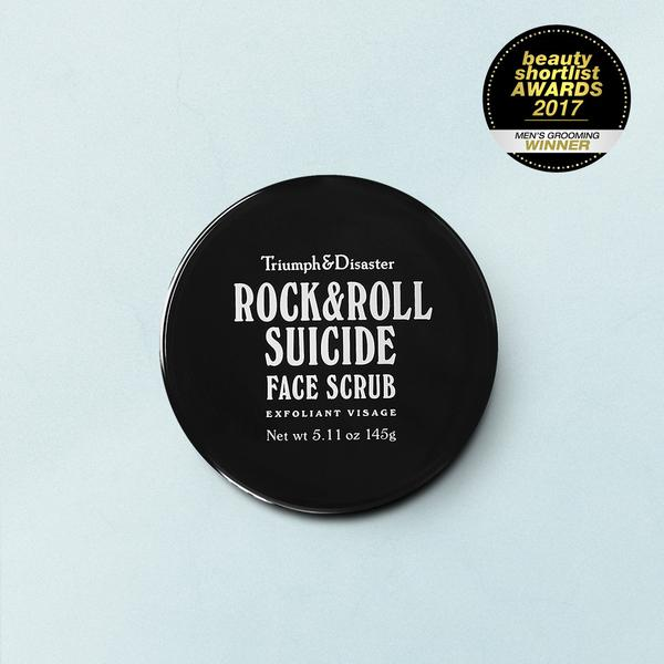Rock & Roll Suicide Scrub 145gm - $42.00   Volcanic Ash and Green Clay Scrub  Infused with a unique natural fragrance that we call 'Smoke and Wood', Rock & Roll Suicide is engineered with safe, efficient science combined with natural ingredients to be your own personal 'Mr WOLFE' for the face.