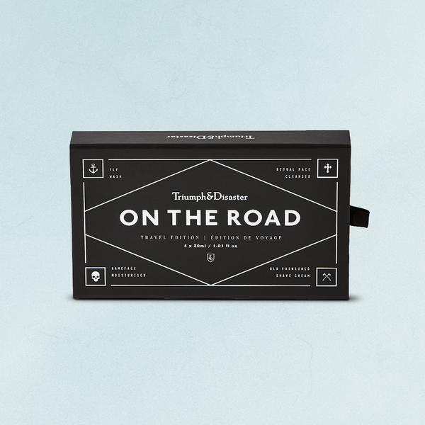 On The Road Travel Kit - $59.00   Created in the spirit of a seasoned traveller - lightweight, compact and ready to go. This 'ON THE ROAD' offering from T&D will ensure you are clean faced, clean shaven and well prepared for the path ahead, whatever it may hold.   ON THE ROAD INCLUDES   4 x 30ml / 1.01 fl oz tubes   YLF Wash  - for those with too much to do and too little time, YLF is an all purpose wash for Body, Face & Hair. Infused with the goodness of Rosewood, Kawakawa and Argan.    Ritual Face Cleanser  - Light, refreshing peppermint-scented Ritual is formulated to clean without drying or irritation, leaving skin feeling fresh and bright.   Old Fashioned Shave Cream  - Natural ingredients combine to simultaneously soften and lift facial hair whilst creating a smooth glide that allows the blade an unbeatable close shave.    Gameface Moisturiser  - Jojoba, Ponga fern (Cyathea Cumingii) and Horopito (Pseudowintera Colorata) combine to deliver a calming, hydrating and soothing moisturiser that will leave your skin feeling great.