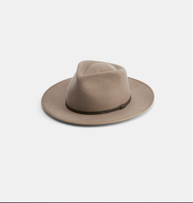 Calloway Fawn $119   Premium Aus wool range. Calloway is a wide brim mens & womens fawn fedora with a bound edge.  100% Australian wool  Natural Leather Band  Natural Cotton Sweatband  Brim width 7cm  Bound Edge
