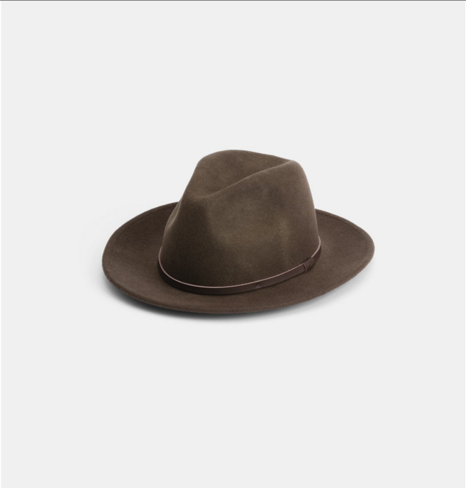 William Brown $99   Wide brim mens and womens fedora. Handmade from 100% Australian wool - finished with all natural details.  100% Australian wool  Natural Leather Band  Natural Cotton Sweatband  Brim width 6.5cm