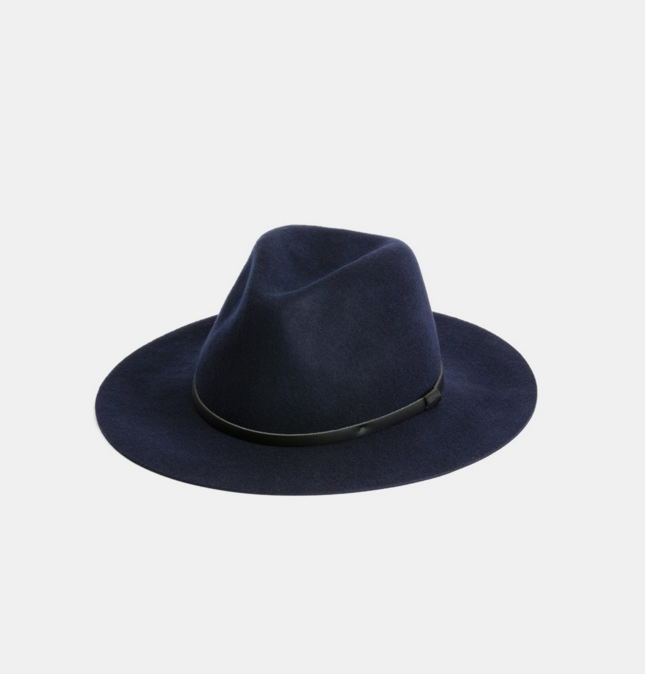 Anderson Blue $99   Anderson is a floppy wide brim fedora, made from super soft Australian wool  100% Australian wool  Natural Leather Accessory  Natural Cotton Sweatband  Brim width 7cm