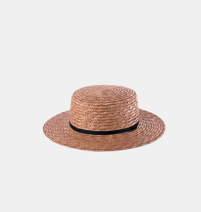 Harvy Amber $89   Harvey is a classic boater hat, made from 100% straw with soft rose tones  Adjustable One Size Fits All Sweatband  57cm Round Crown  6cm Brim Width  Rose Tint Straw  Premium Leather Accessory