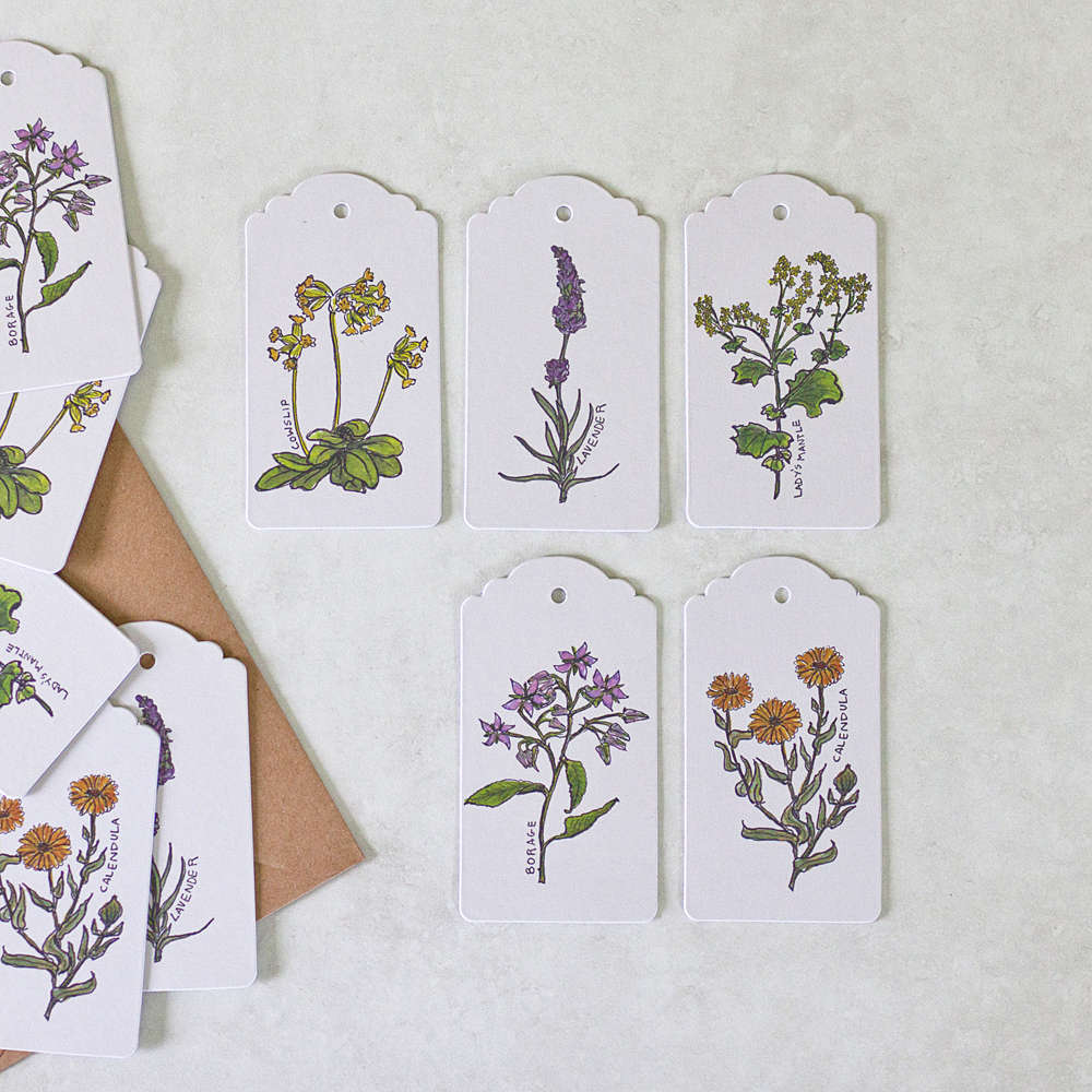 Ten hand illustrated swing tags featuring five unique botanical designs (two of each design per pack).