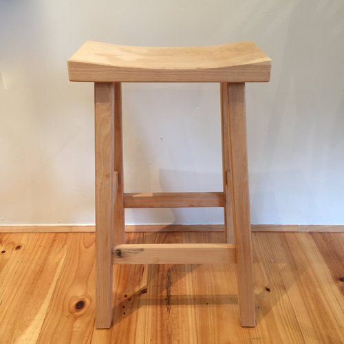 Tall Stool Natural   Locally made from local Cyprus wood.  Rectangular top.  Each piece is individual.  Size: 67cm(h) x 41cm(l) x 32(d)  $155.00