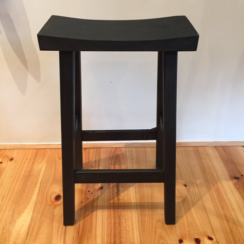 Tall Stool Black   Locally made with local Cyprus timber.  Rectangular top.  Size: 67cm(h) x 41cm(l) x 32(d)  $175.00