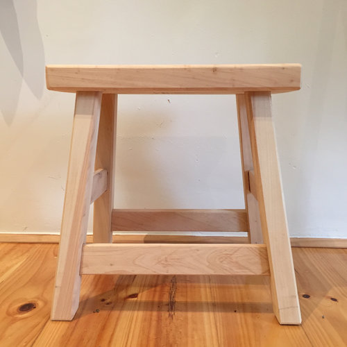 Milking Stool Natural   Locally made from local Cyprus timber.  Rectangular top.  Size: 40cm(h) x 40cm(l) x 30cm(d)  $125