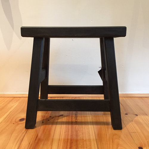 Milking Stool Black   Locally made using local Cyprus timber.  Rectangular top.  Size: 40cm(h) x 40cm(l) x 30cm(d)  $145.00
