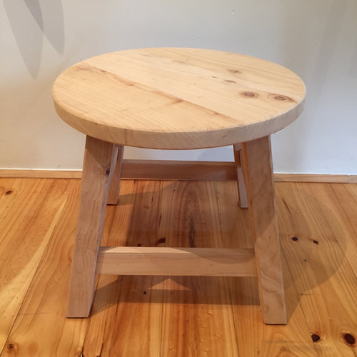 Dual Stool   Locally made from local Cyprus wood.  Natural finish with a round top.  Each piece is individual.  Size: 30cm(h) x 44cm(diameter)  $155.00
