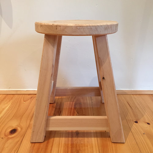 Milking Stool Round Natural   Locally made from local Cyprus timber.  Round top.  Each piece is individual.  Size: 40cm(h) x 33cm(l) x 33cm(w)  $125.00