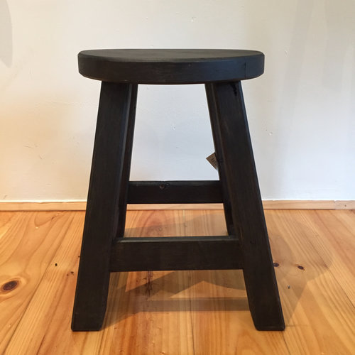 Milking Stool Round Black   Locally made using local Cyprus timber.  Round top.  Each piece is individual.  Size: 40cm(h) x 33cm(l) x 30cm(w)  $145.00