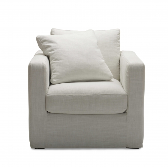 Armchair $1950.00   Seat - H 45cm x D 64cm  Chair - H 66cm x W 86cm x D 96cm  Cushions - Features Molmic Comfort Support foam core encased in a luxurious feather filled japara pocketed cover to provide resilience along with sumptuous relaxed domed comfort. Moderate maintenance backed by a 5 year warranty.  Upholstery - Esprit, 100% Cotton  Casual and comfortable with practical washable covers. Spill something? Simply remove the covers and toss them in the wash.  Colour samples in store.