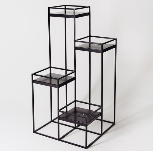 Tall Plant Stand $695   Powder coated steel.   Shelf Dimensions:  281mm x 281mm   Product is made to order.     Available in Black and White.    L  600mm  W  600mm  H  1200mm  Weight:  15kg