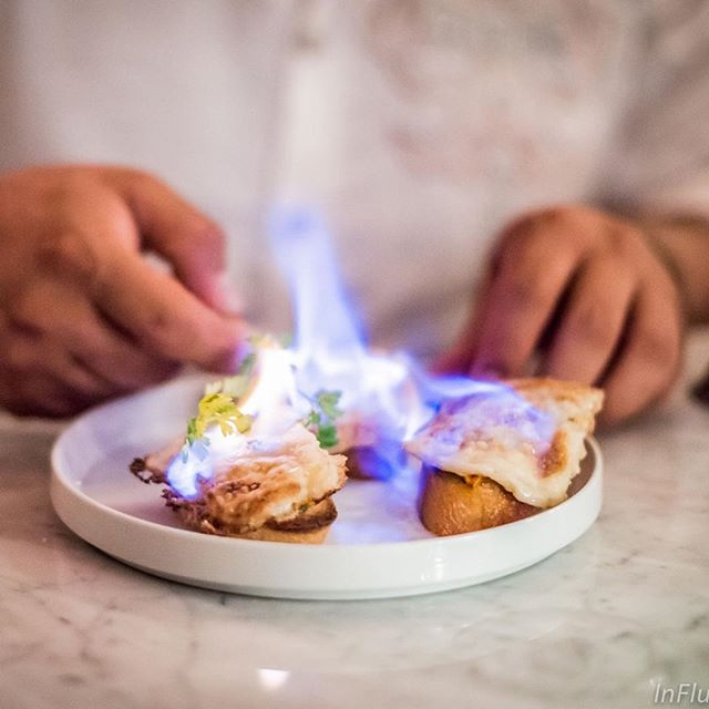 Thank you, @veganinflux for the image! NUMUVEGAN Vegan cheese is bathed in brandy and lit on fire at @ladybird_nyc in Greenwich Village - the Saganaki dish is one of their most popular items!