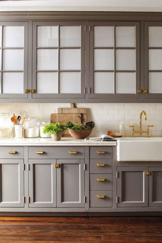 Grey Cabinet Haute Domestic - Grey cabinets wood countertops