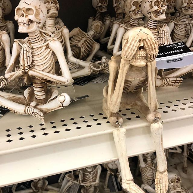 Three weeks until Halloween! Plenty of time to catch up on horror movies and meditation. 💀  Attendee in the back is meditating too hard 👉 . . . . #dont #be #discouraged #halloween #is #close #skeleton #yoga #pose #hellyes #best #season #spooky #horror #movie #time #wednesday #wednesdaymotivation  We're watching Hereditary right now 🙌 #haveagoodday