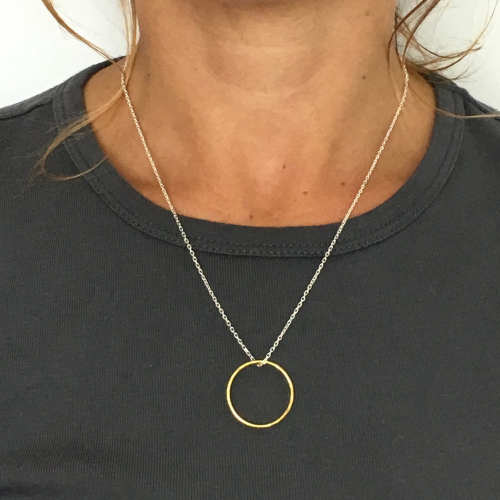 Fran Regan Jewellery Pendant Silver Double Loops DvsNnc