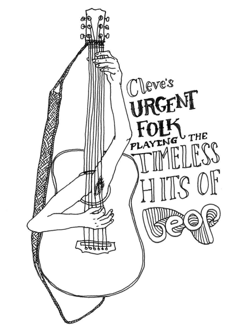 Poster for the Urgent-Folk gigs throughout 2014.  Illustration by Mariona Wesselo.