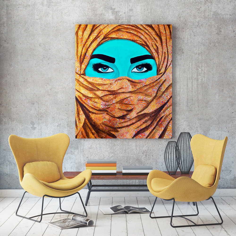 niqabi art hanging in room-rashad ali muhammad