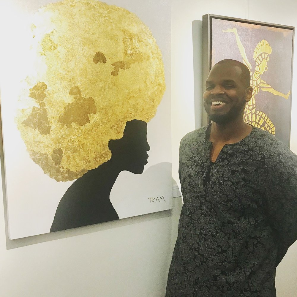 rashad ali muhammad with painting gold queen