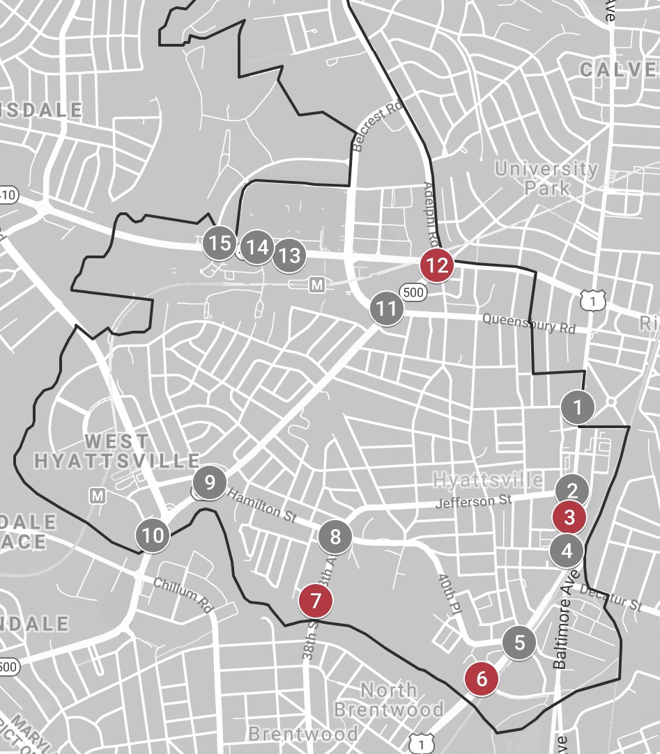 My Traffic box locations - 3. Baltimore Ave & Hamilton St6. Baltimore Ave & Charles Armentrout Dr7. 38th St & Gaines Alley12. Queens Chapel Rd & East-West Hwy