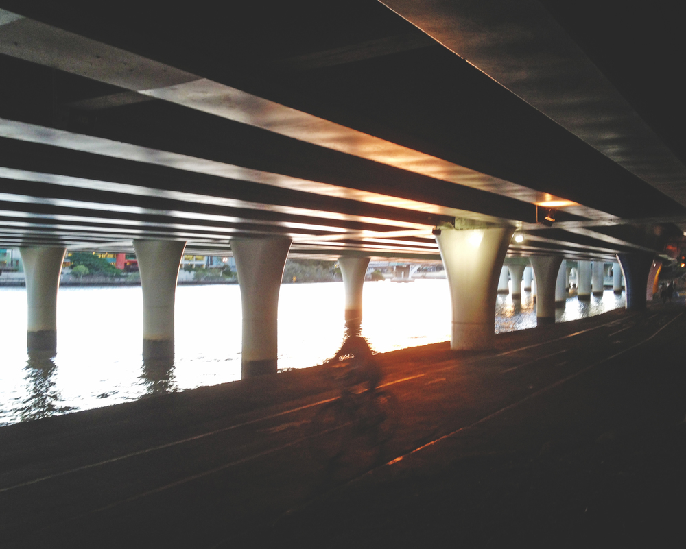Under the highway at sunset.JPG