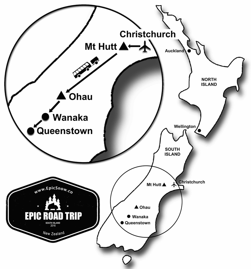 EPIC ROAD TRIP MAP NEW ZEALAND SOUTH ISLAND EPIC SNOW