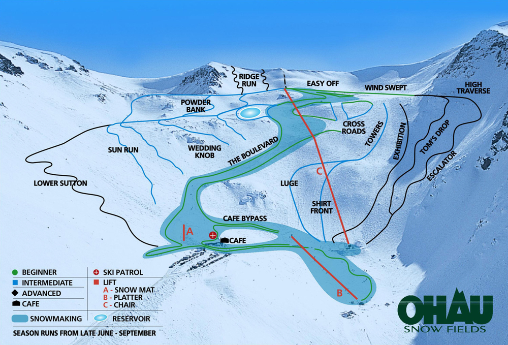Ohau ski fields trail map