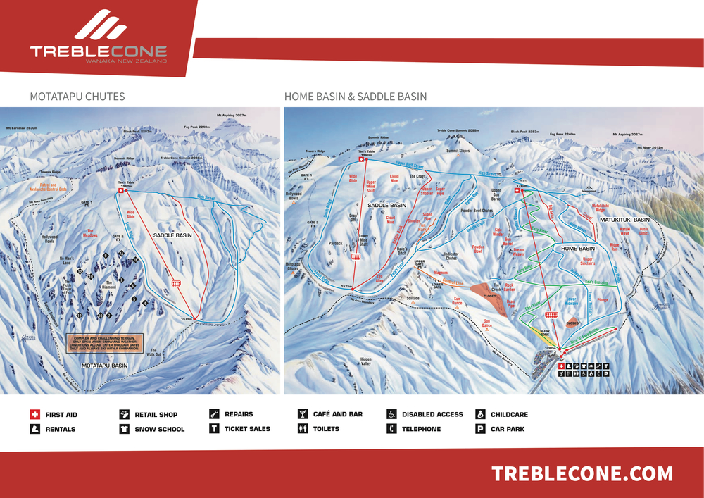 Treblecone ski resort trail map Wanaka