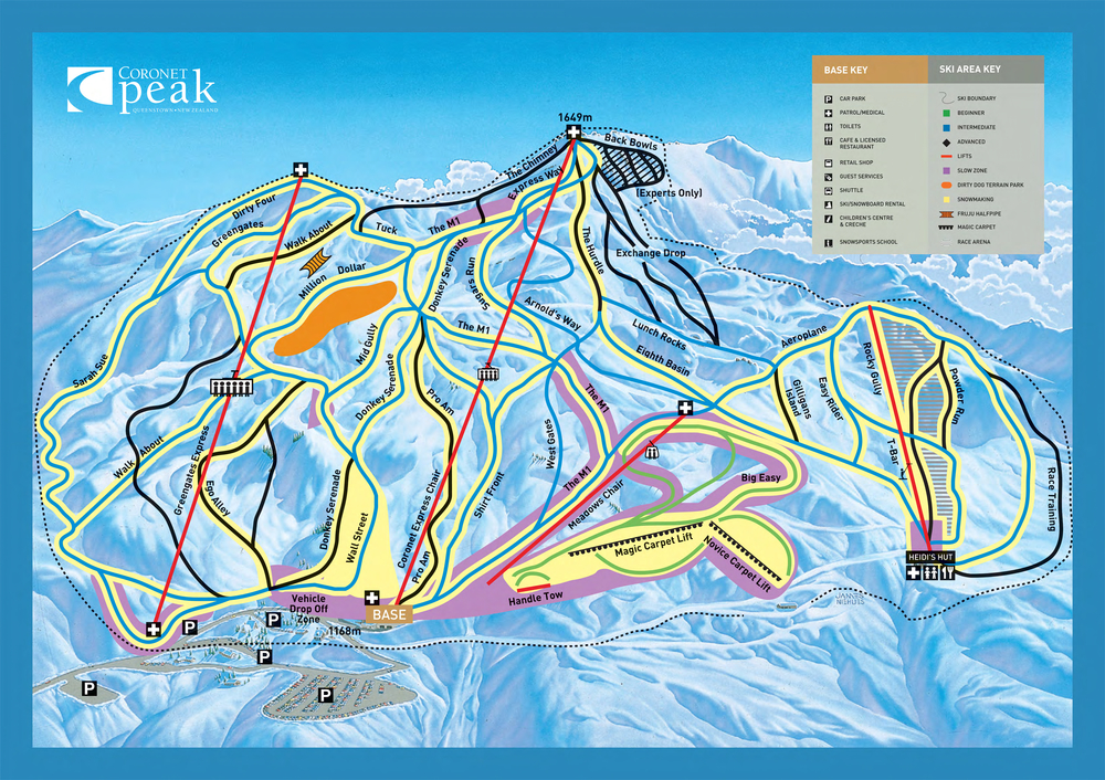 Coronet Peak Trail Map Queenstown