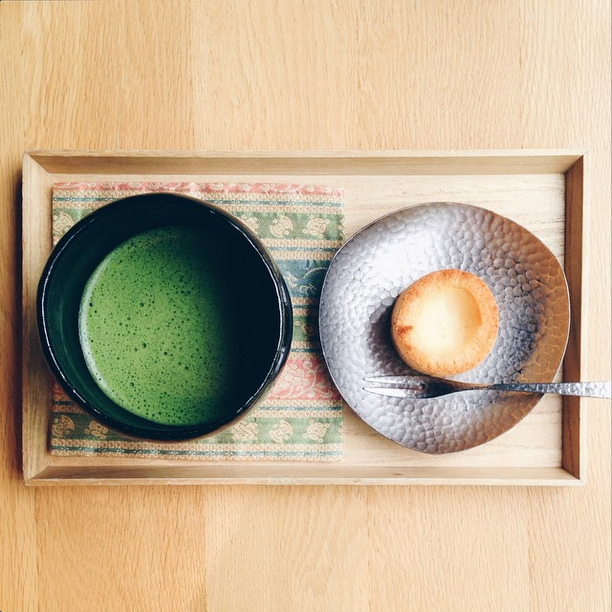 Matcha tea and Japanese custard cake.