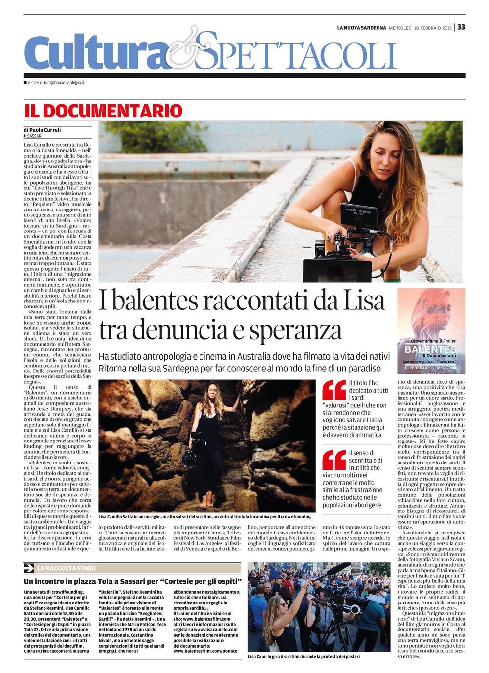 La Nuova Sardegna 18/02/2015