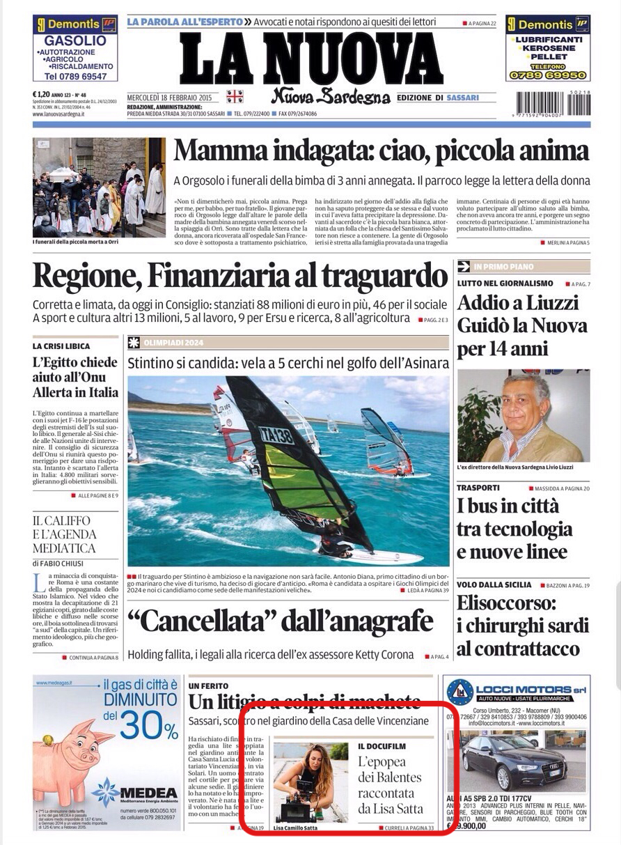 Front Page of the Nuova Sardegna newspaper