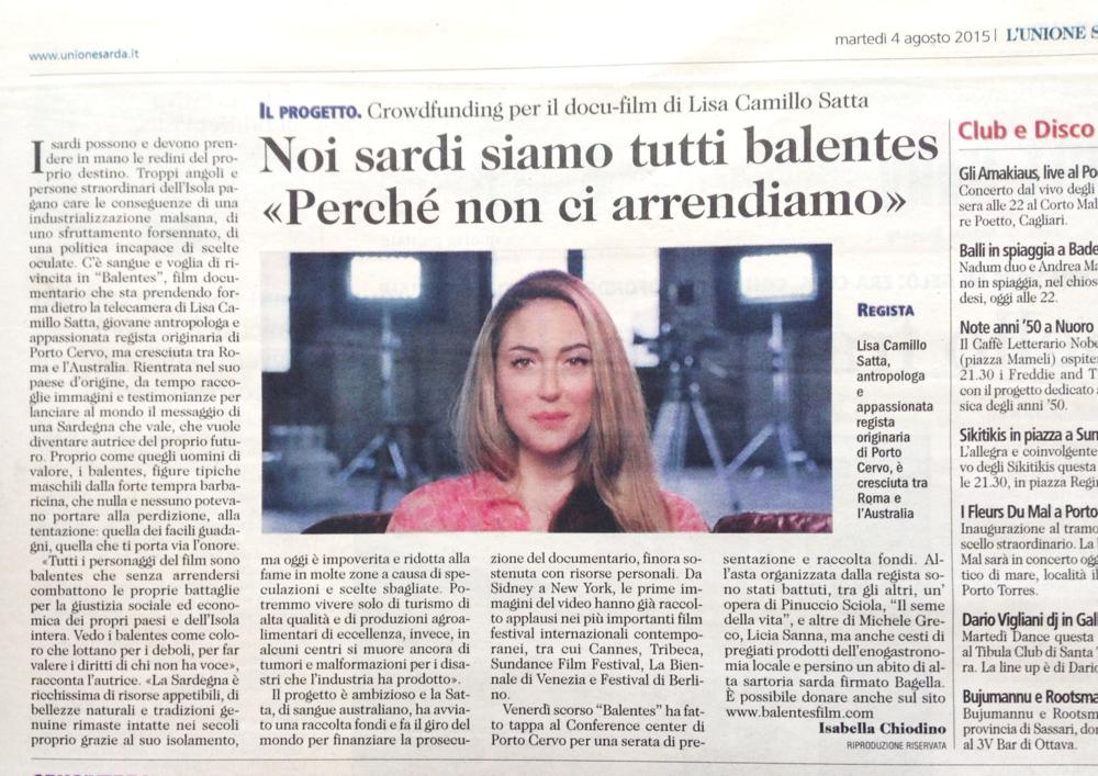 L'Unione Sarda 4/08/2015