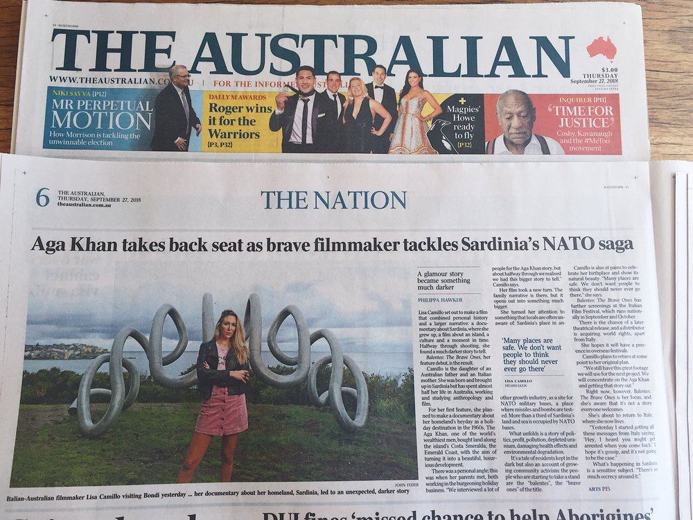 Lisa Camillo and Balentes on Australian Newspaper -  The Australian