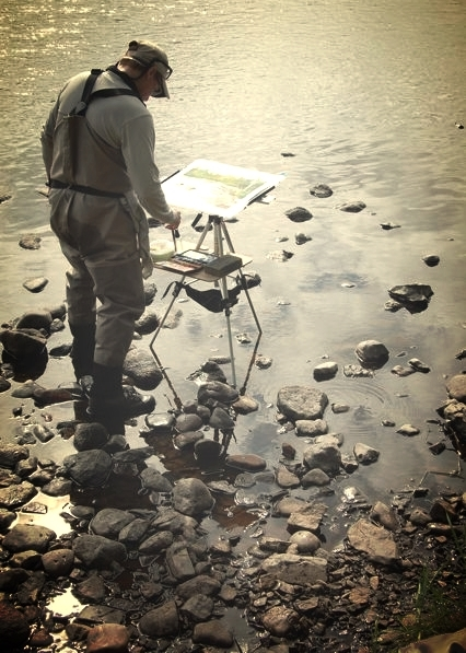Plein air painting in Bristol Bay Alaska - Image courtesy of Bob White