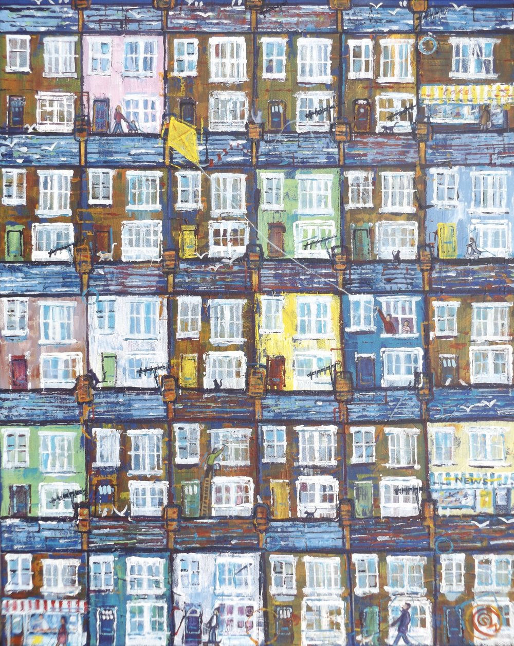 'Flight of Fantasy' Acrylic on canvas (61cm x 46cm) urban life in a seaside town