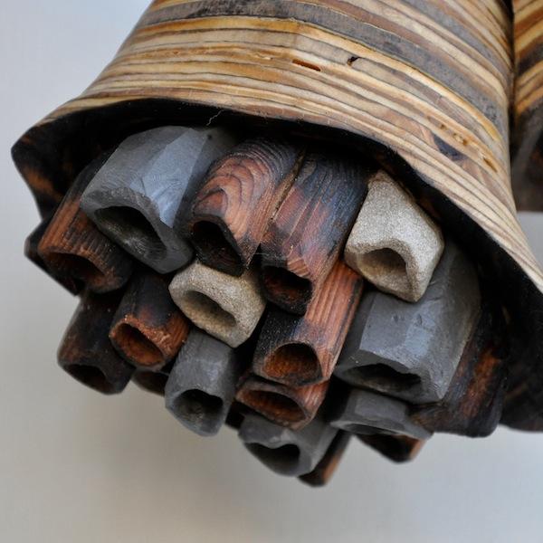 """Hive #9"" 18"" x 10"" x 10"" wood, limestone, soapstone"