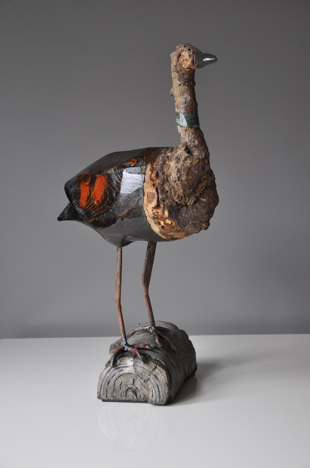 """Moorehen"", 36"" x 20"" x 20"" , Wood, Stone, Steel, Ferro Cement"