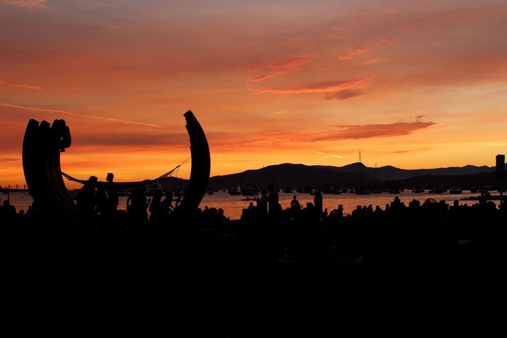 Sunset Beach au coucher du soleil, Vancouver, BC, CA
