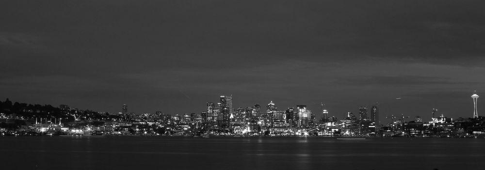 Seattle by-night vue du Gas Works Park, Seattle, WA, USA