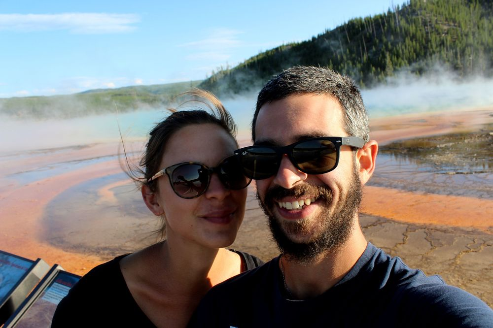 Après 3 mois de voyage à Grand Prismatic Spring, Midway Geyser Basin, Yellowstone National Park, WY, USA