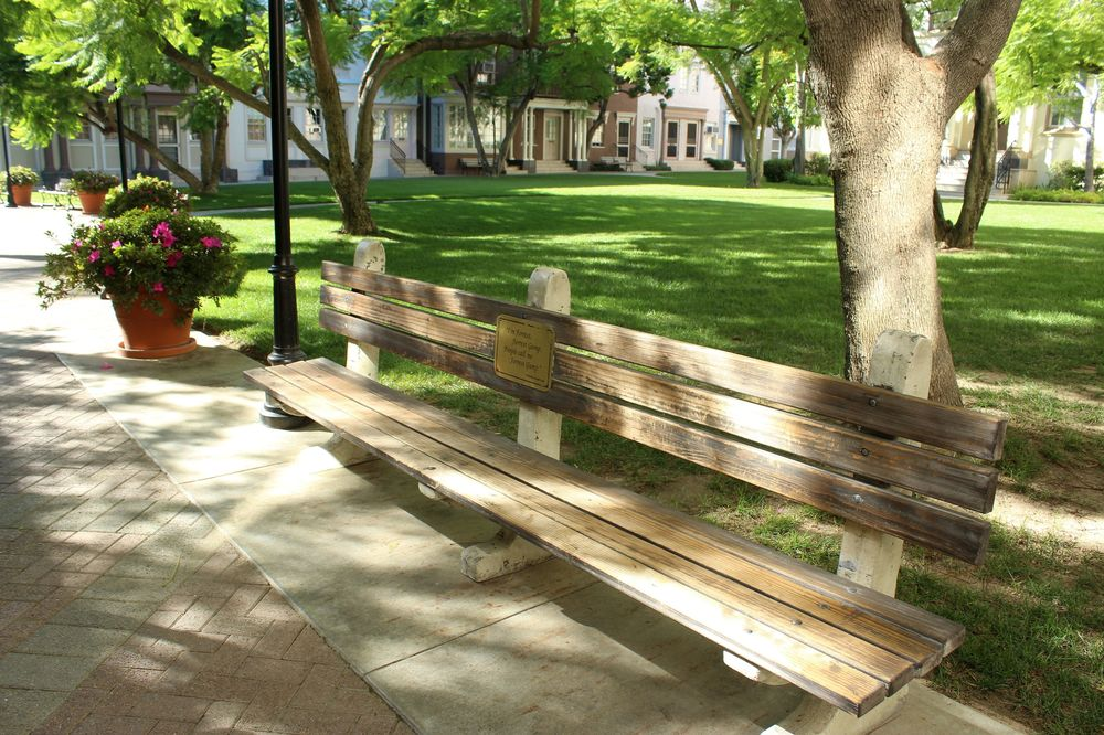 Le banc de Forrest Gump, Studio Paramount, Hollywood, Los Angeles, CA, USA