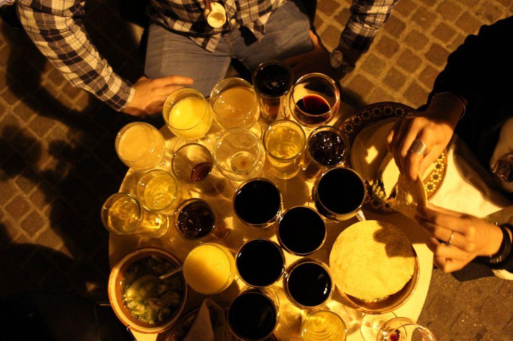 Notre table lors de la fête à Zacatecas, Zacatecas, Mexique