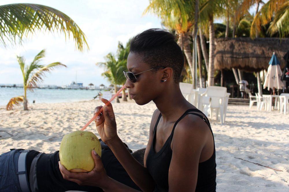 Kim et sa coco, Isla Mujeres, Quintana Roo, Mexico