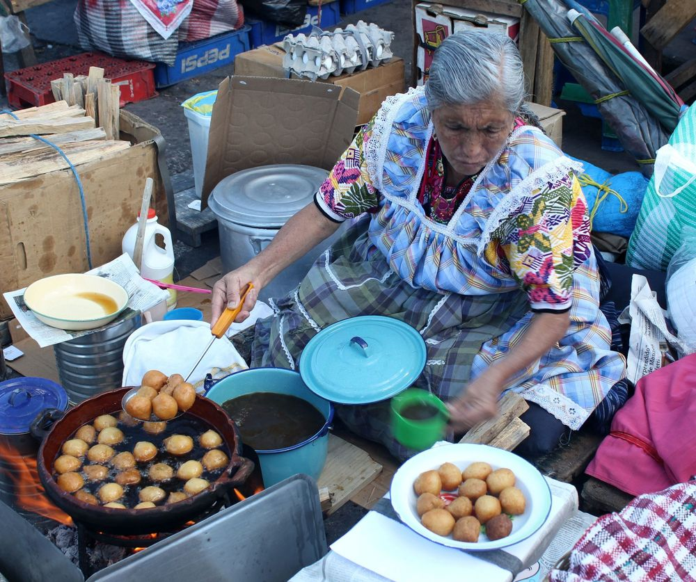 Buñuelos, marché de Xela, Quetzaltenango, Guatemala
